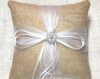 Ring Pillow, Burlap Ring Bearer Pillow, Burlap Ring Pillow, Rustic Ring Pillow, Rhinestone Ring Pillow, Burlap Wedding Ring Pillow, Wedding