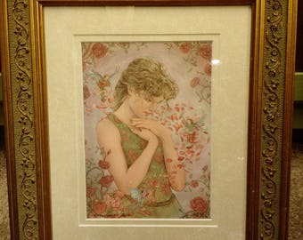 Rose Signed Print in an 11x14 Decorative Gold Frame