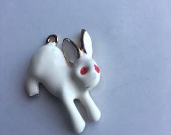 Vintage Enameled White Rabbit Necklace Pendant