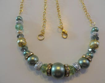 Green Pearl Necklace with Green Glass Beads Rondelles