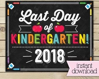 Last Day of Kindergarten Sign - Last Day of School Printable - Kindergarten Graduation Sign - Photo Props - Chalkboard Sign Instant Download