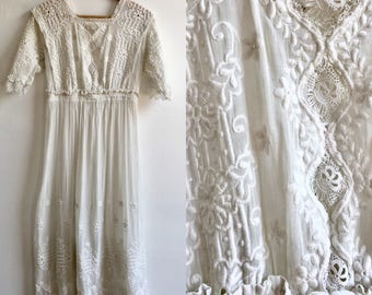 Victorian White Cotton Gauze and Lace Embroidered Dress, size Small