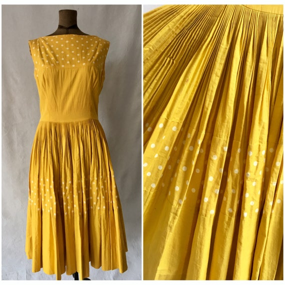1950s Sunshine Yellow Polka Dot Sun Dress, Medium