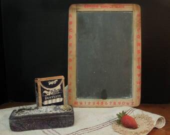Antique / Vintage / Primitive Rustic Schoolhouse Slate / Vintage Chalkboard Eraser / Chalk