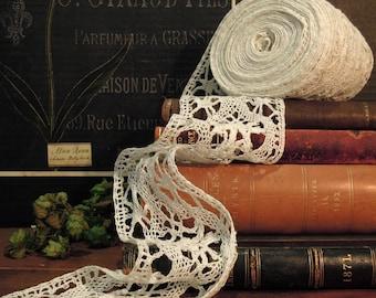 Vintage / Antique Cotton Bobbin Lace / 10 Yards of Vintage Handmade Lace Trim