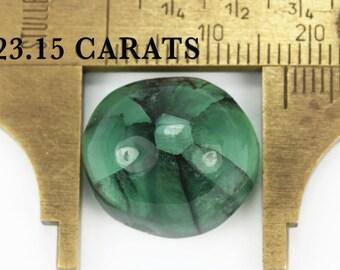 23.15cts Round Cabochon Emerald, Natural Trapiche Emerald, Loose Emerald Gemstone, Columbian Emerald Cabochon Trapiche, Emerald Cat Eye