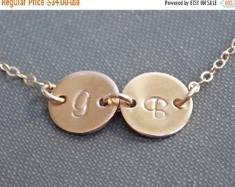 SALE - Personalized Two Disc Necklace, Tiny Initial Disc Gold Filled Necklace,  Mother Sister Children Best Friends Necklace, Family Jewelry