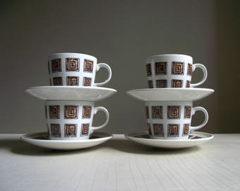 Retro Cups & Saucers , Ridgway Andorra Pattern , Set of 4 Geometric Cups and Saucers , Retro Modern China