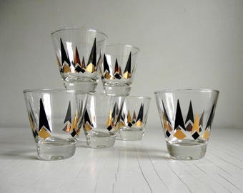 Double Shot Glasses , Set of 6 Atomic Arrow Cocktail Glasses , Black Gold Chevron Glasses , Mid Century Barware , Mad Men Style