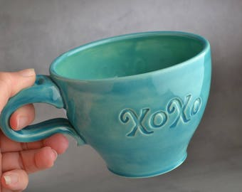 Soup Coffee Mug Ready To Ship XOXO Coffee Tea Cocoa Mug by Symmetrical Pottery