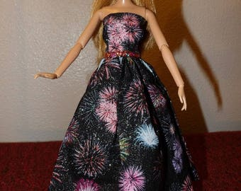 Fancy colorful fireworks & silver sparkle print formal dress for Fashion Dolls - ed1012