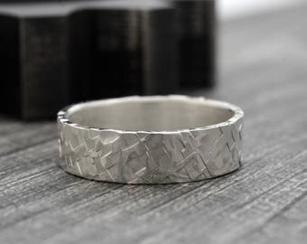 Recycled Sterling Silver Men's Wedding Ring -  7mm Hammered Wedding Band - Rustic Wedding Rings for Men and Women