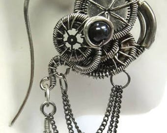 Hematite Wire-Wrapped Steampunk Earrings in Antiqued Sterling Silver