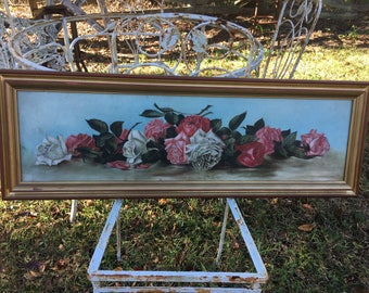 Gorgeous Yard Long Roses Victorian Oil Painting ~Aqua with Roses!