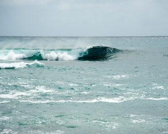 Hawaii - Cresting II - Ocean Wave - Nature photo - waterscape -  luminous jewel tones - Fine art photography - minimalist - 8x12, 24x36
