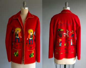 Vintage 1940's Mexican Souvenir Jacket / 40's Mexican Jacket / Wool Embroidery / Red Jacket , Women's Souvenir