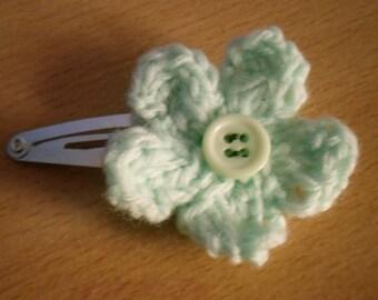 Knitted Hair Clip, Mint Green Flower