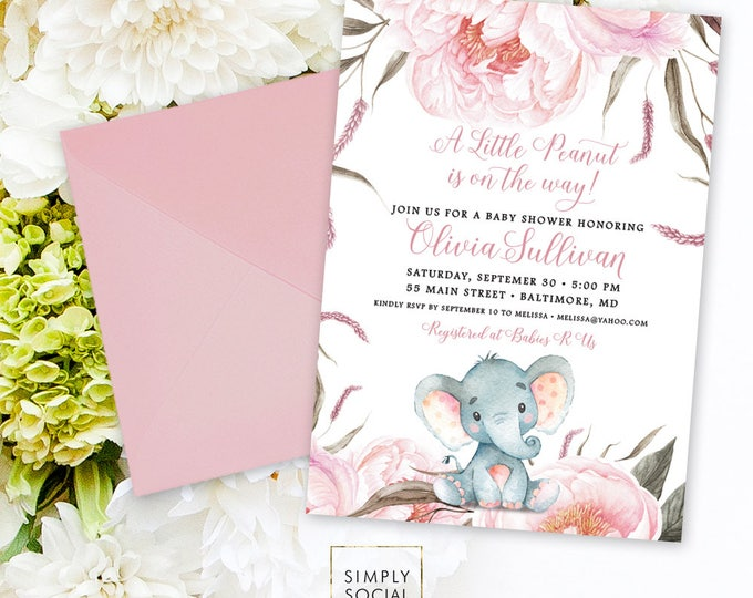 Pink Floral Elephant Baby Shower Invitation - It's a Girl Watercolor Elephant Modern Baby Shower Pink Peony Little Peanut Printable