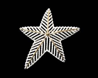Vintage MONET White Enamel Star Brooch