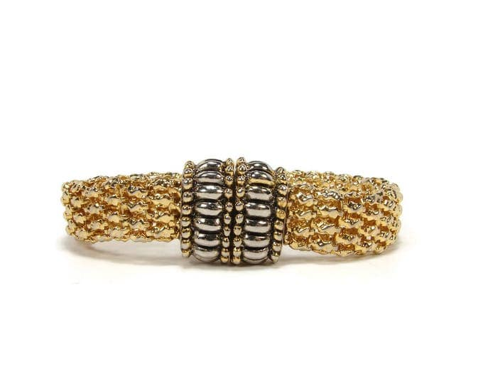 Gold & Silver Tone Flexible Bracelet with Magnetic Clasp