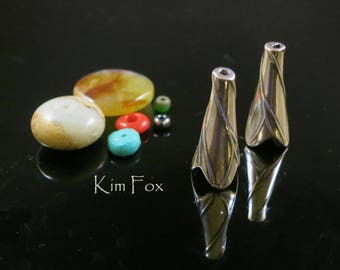 Twigs Cones in Golden Bronze and Sterling Silver suitable for kumihimo, bead crochet and multistrands  by Kim Fox