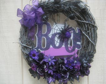 Halloween Wreath//Spider Wreath//Sign Wreath//Purple Wreath//Halloween Wreath for Front Door