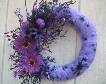 Halloween Wreath//Spider Wreath//Purple Wreath