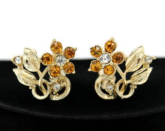 Topaz Rhinestone Flower Earrings, ca. 1960s
