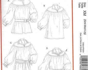 McCalls M4862 Mens Poet Shirt Renaissance Costume Sewing Pattern Medieval Uncut Size Small, Medium, Large