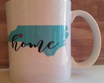 State mug, Home mug, State silhouette with heart
