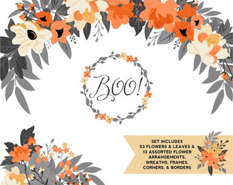 Halloween Orange Yellow And Black Floral ClipArt