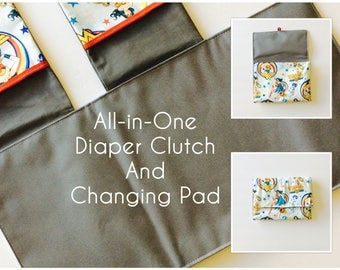 MADE TO ORDER All-in-One Diaper Clutch and Changing Pad, Wonder Woman diaper clutch and changing pad