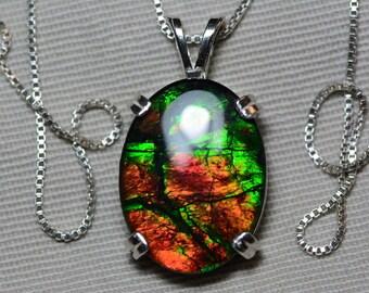 Ammolite Necklace, Green & Red Ammolite Pendant, Sterling Silver, 20x15mm Oval Cabochon, Alberta Canada Gemstone, Jewelry