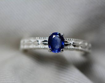 Sapphire Ring, Blue Sapphire Solitaire Ring 0.67 Carat Appraised at 525.00, September Birthstone, Natural Sapphire Jewelry, Oval Cut