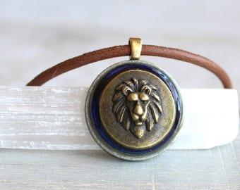 royal blue lion necklace, mens jewelry, lion jewelry, mens necklace, unique gift, nature necklace, animal necklace, mens gift, leo necklace
