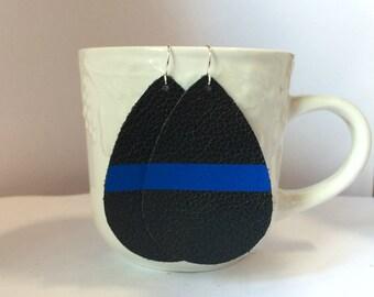 Thin Blue Line Police Law Enforcement Leather Teardrop Drop Earrings