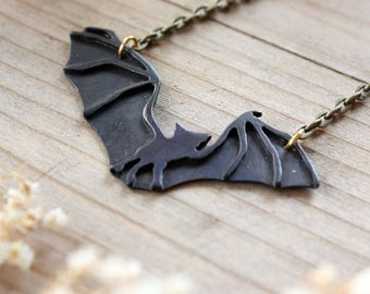 Bat Necklace Handmade Brass or Silver Bat Necklace Pendant Fall Jewelry Goth Bat Lover Gift Idea Jewelry Set Holiday Gift for Her Halloween