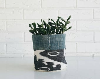 Black and White Ikat and Mudcloth Planter Cover - Boho  Textile Planter