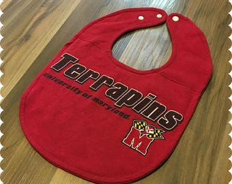 Maryland Terrapins Baby Bib, Recycled T-Shirt Baby Bib, U of MD, University of Maryland, Baby Shower Gift, Maryland Baby