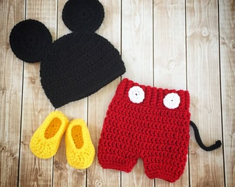 Mickey Mouse Inspired Costume/Mickey Mouse Hat/Mickey Costume/Baby Photo Prop Newborn to 18 Month Size-MADE TO ORDER