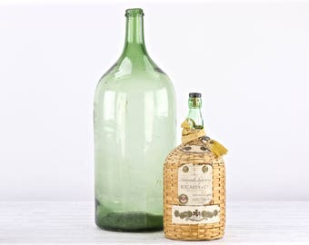 Vintage Bacardi DemiJohn Bottle Old Bacardi Bottle Wicker Wrapper Bacardi Bottle Vintage Demijohn Bottle  Liquor Bottle Green Demijohn