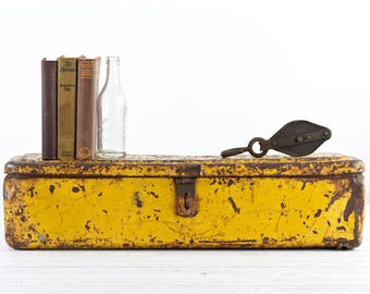 Reserved for Jeff! Vintage Tool Box  Old Metal Tool Box Metal Tool Chest Chippy Rusty Yellow Tool Box Rustic Decor Industrial Decor Pick Up