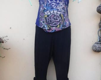 """20%OFF lagenlook black 3/4 pants with ruffles...small to firmer 36"""" hips or waist...."""