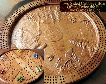 Personalized cribbage board, Scenic cribbage board, Cherry cribbage board, Wood Aggravation game, Circle of life cribbage, Chinese checkers