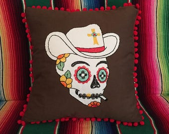 Day of the Dead Cowboy Sugar Skull Embroidered Calavera Pillow in Brown