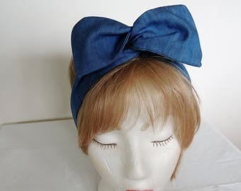 Denim Fabric Wired Headband,  Blue Dolly Bow Head Band, Bandana Wide Headband, Twist Head Scarf, Hat Band, Head Wrap, Hair Tie, Hair Band