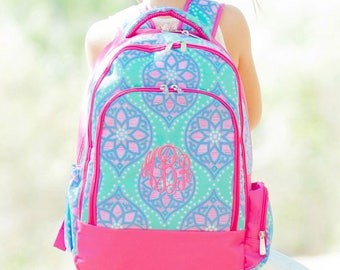 FREE pencil pouch offer FREE monogramming - Personalized Monogrammed Full sized Embroidered Hot Pink Lavendar MARLEE Backpack Bookbag