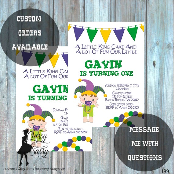 Mardi Gras Birthday Party Invitation, Mardi Gras Party, Parade party,  New Orleans Baby, New  -189