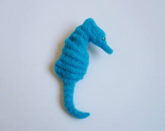 Turquoise seahorse wool needle felted brooch