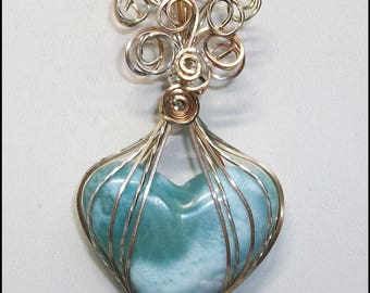 Larimar Heart Pendant in Bronze and Sterling Silver Wire